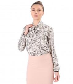 Elegant viscose blouse with scarf collar