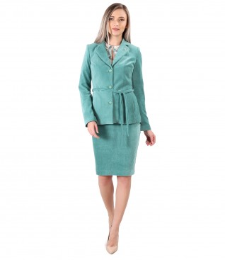 Office women suit with velvet skirt and jacket