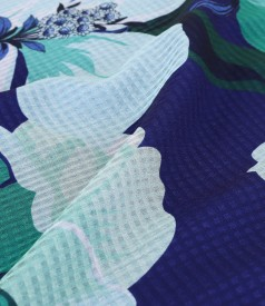 Printed veil midi dress with floral motifs