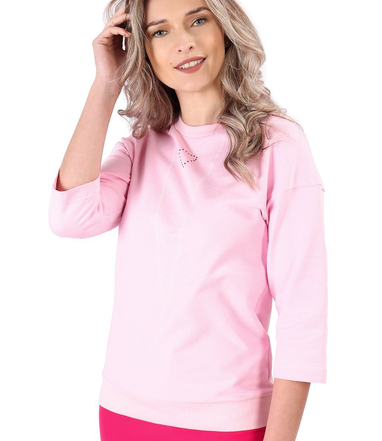 Cotton sweatshirt with decorative stitching