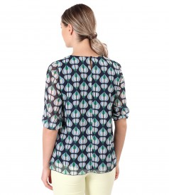 Elegant veil blouse printed with geometric motifs