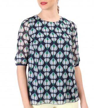 Elegant veil blouse printed with geometric motifs