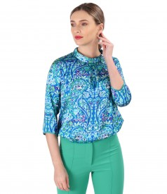 Satin blouse printed with paisley motifs