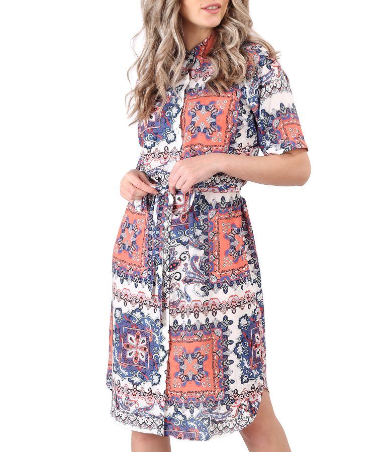 Printed viscose shirt dress