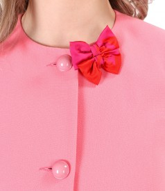 Elegant elastic fabric jacket with bow at the decolletage