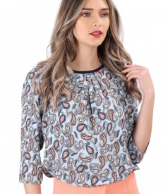 Paisley printed viscose casual blouse