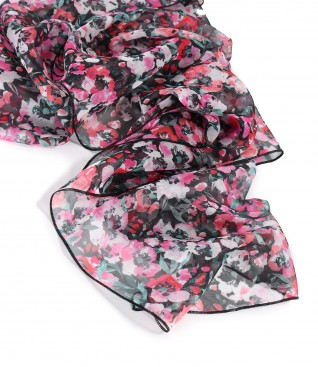Organza veil scarf printed with floral motifs
