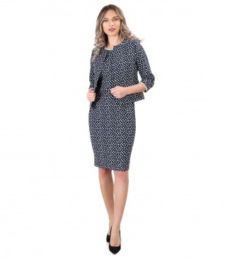 Elegant outfit with jacket and elastic cotton dress