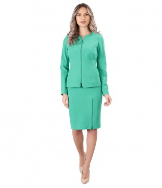 Office women suit with skirt and jacket with zipper on the face
