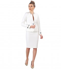 Office women suit with skirt and jacket made of white elastic fabric