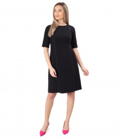 Flared office dress with decorative stitching