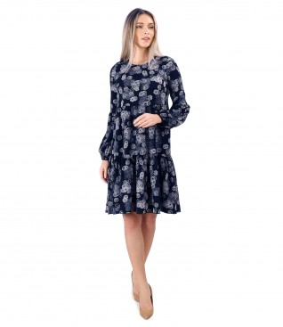 Dress with ruffles made of viscose printed with floral motifs