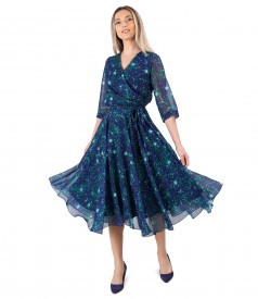 Elegant printed veil dress