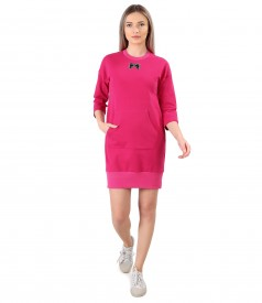 Cotton sweatshirt dress with front pocket