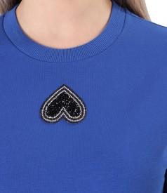 Cotton sweatshirt dress with front pocket