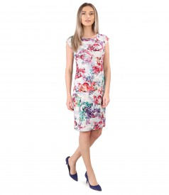 Elastic jersey dress with viscose and linen