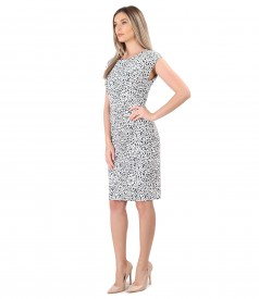 Elegant dress made of printed elastic brocade
