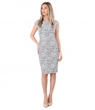 Elegant dress made of printed elastic brocade