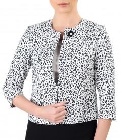 Elegant printed elastic brocade jacket