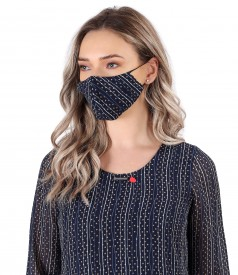 Reusable elastic jersey mask with floral motifs