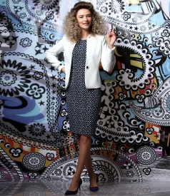 Elegant outfit with elastic cotton dress and jacket