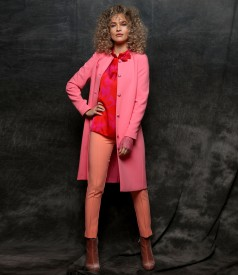 Elegant jacket with ankle pants ant printed satin blouse