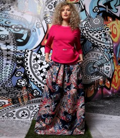 Long skirt made of printed satin Duchesse with sweatshirt