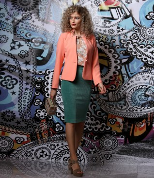 Office outfit with jacket and velvet tapered skirt.