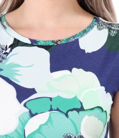 Printed jersey blouse with dropped shoulders