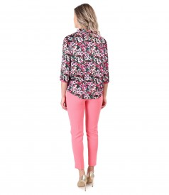 Ankle pants with printed satin blouse