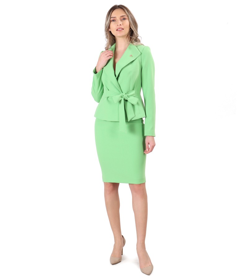 Office women suit with jacket with waist cord and tapered skirt