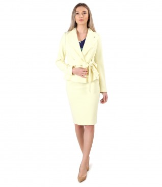 Office women suit with jacket with drawstring at the waist and skirt