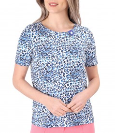 Blouse made of printed elastic cotton