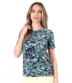 Blouse made of elastic cotton printed with floral motifs