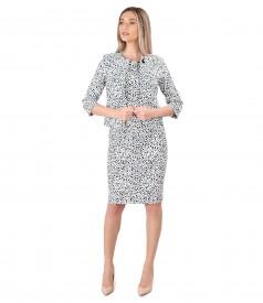 Printed elastic brocade dress and jacket