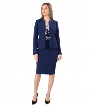 Office women suit with navy blue elastic skirt and jacket