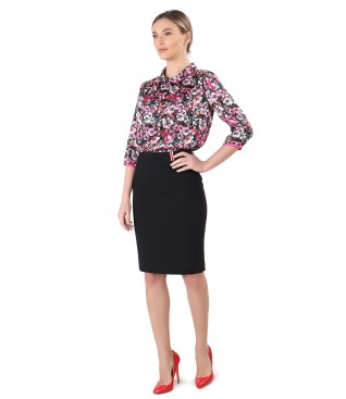 Office outfit with tapered skirt and printed satin blouse