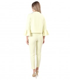 Office woman suit with jacket with wide cuffs and ankle pants