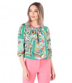 Printed viscose casual blouse
