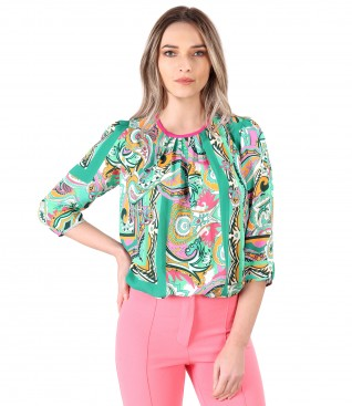 Printed viscose casual blouse