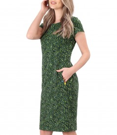 Elastic cotton dress with side pockets