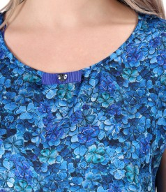 Casual blouse with bow on the decolletage