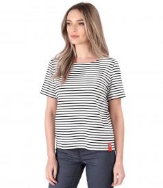 Striped thik elastic jersey blouse