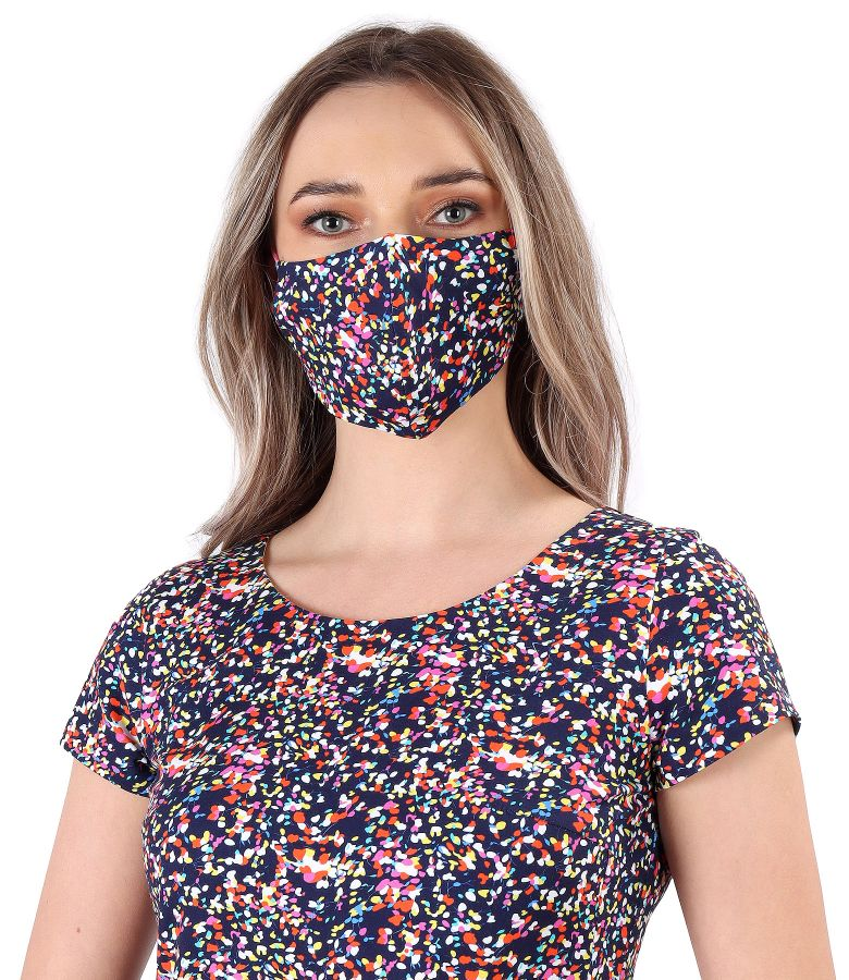 Reusable cotton mask with floral motifs