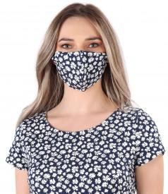Reusable cotton mask with floral motifs
