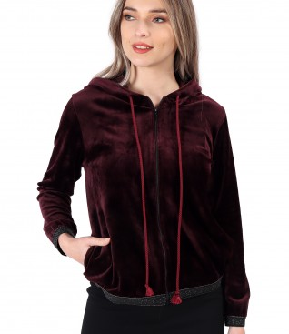 Velvet sweatshirt with elastic finish with crystals