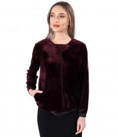 Sweatshirt without hood made of velvet