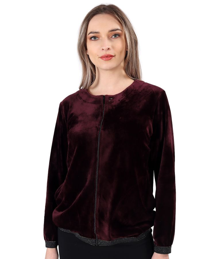 Sweatshirt without hood made of velvet
