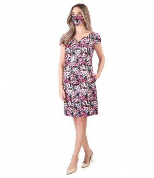 Dress and mask made of satin printed with floral motifs