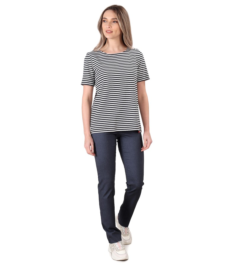 Casual outfit with denim pants and striped jersey blouse
